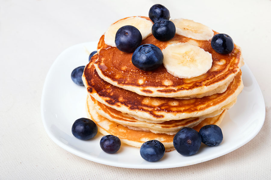 Blueberry and Banana Pancakes With Lemon-Maple Butter