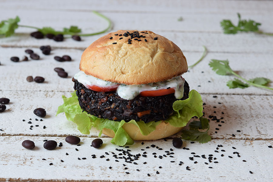 Quick Veggie Burger With Homemade Red Pepper Mayonnaise