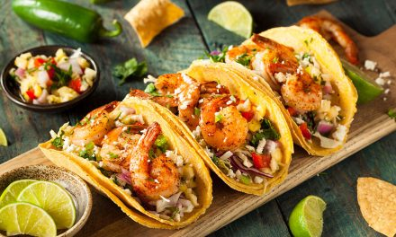 Shrimp Tacos With Basil, Mango, and Corn